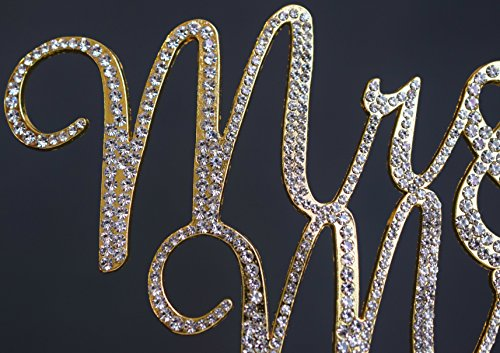 Mr and Mrs GOLD Cake Topper - Premium Crystal Rhinestones - Wedding Anniversary Bridal Shower Bachelorette Party or Vow Renewal - Perfect Keepsake (Mr and Mrs Gold Script)