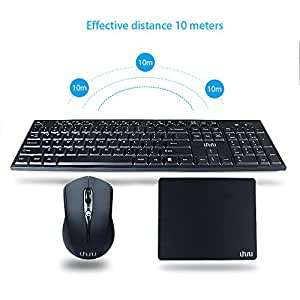 wireless keyboard and mouse with mouse pad uhuru 2 4ghz whisper quiet wireless. Black Bedroom Furniture Sets. Home Design Ideas