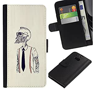 NEECELL GIFT forCITY // Billetera de cuero Caso Cubierta de protección Carcasa / Leather Wallet Case for HTC One M8 // Hipster Bearded Esqueleto