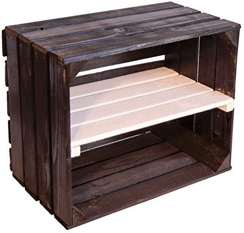 "Solid Bookcase – Shoe Storage Crate Fruit Wine Box Dimensions Approx. 50 x 40 x 31 cm Xxxaus The Old Landxxx Crate Crate Crate Decorative Box Shelf Schwarz ""weißes Mittelbrett längs"""