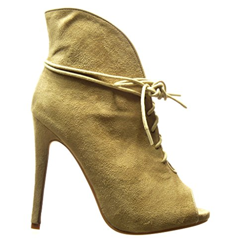 Angkorly - damen Schuhe Stiefeletten - Stiletto - Sexy Stiletto high heel 12.5 CM - Khaki