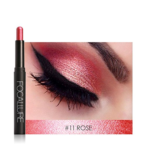 DMZing FOCALLURE 12 Colors Pro Highlighter Shimmer Eyeshadow Pencil Waterproof Eyeliner Pen Flash Colors Long Lasting Waterproof (ESP-0K) ()