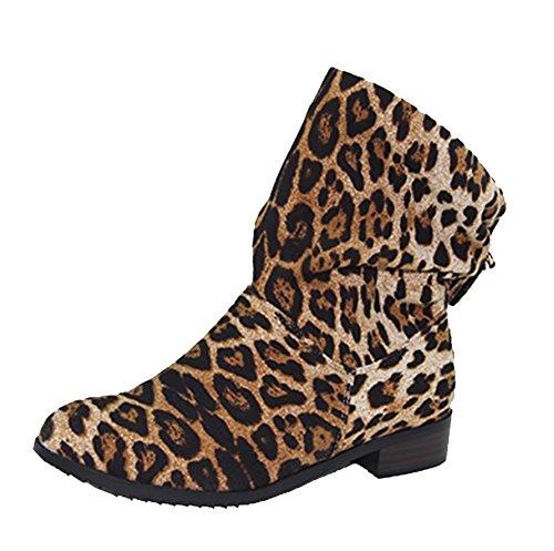 Damen Freizeit Leder komfortable flache Stiefeletten schwarz Leopard , 2 , 45 2
