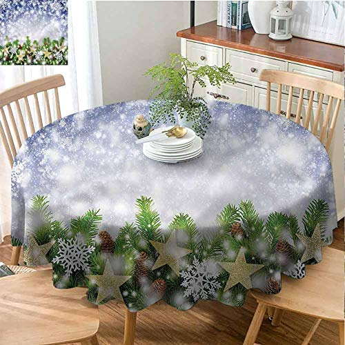 ScottDecor Overlay Round Tablecloth Christmas,Bokeh Snowflakes Fabric Tablecloth Diameter 54