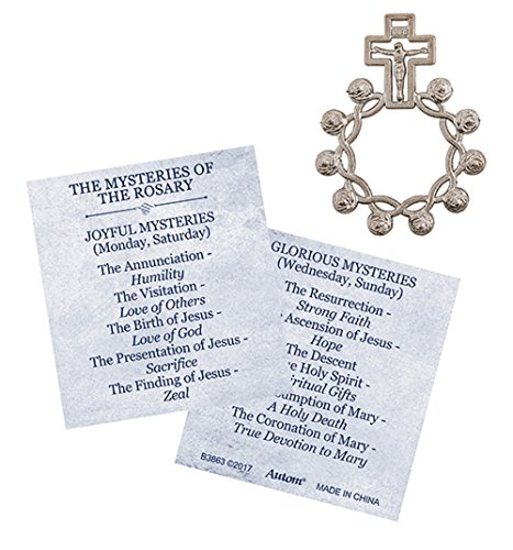 Rosebud Rosary Ring with Mysteries Card - 24/pk by AT001