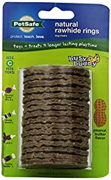 PetSafe Busy Buddy Refill Ring Dog Treats for select Busy Buddy Dog Toys, Peanut Butter Flavored Natural Rawhide, Size C