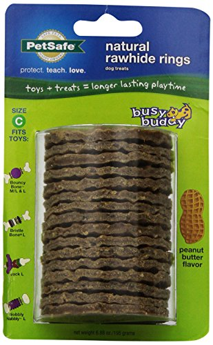 PetSafe Busy Buddy Refill Ring Dog Treats for select Busy Buddy Dog Toys, Peanut Butter Flavored Natural Rawhide, Size C -