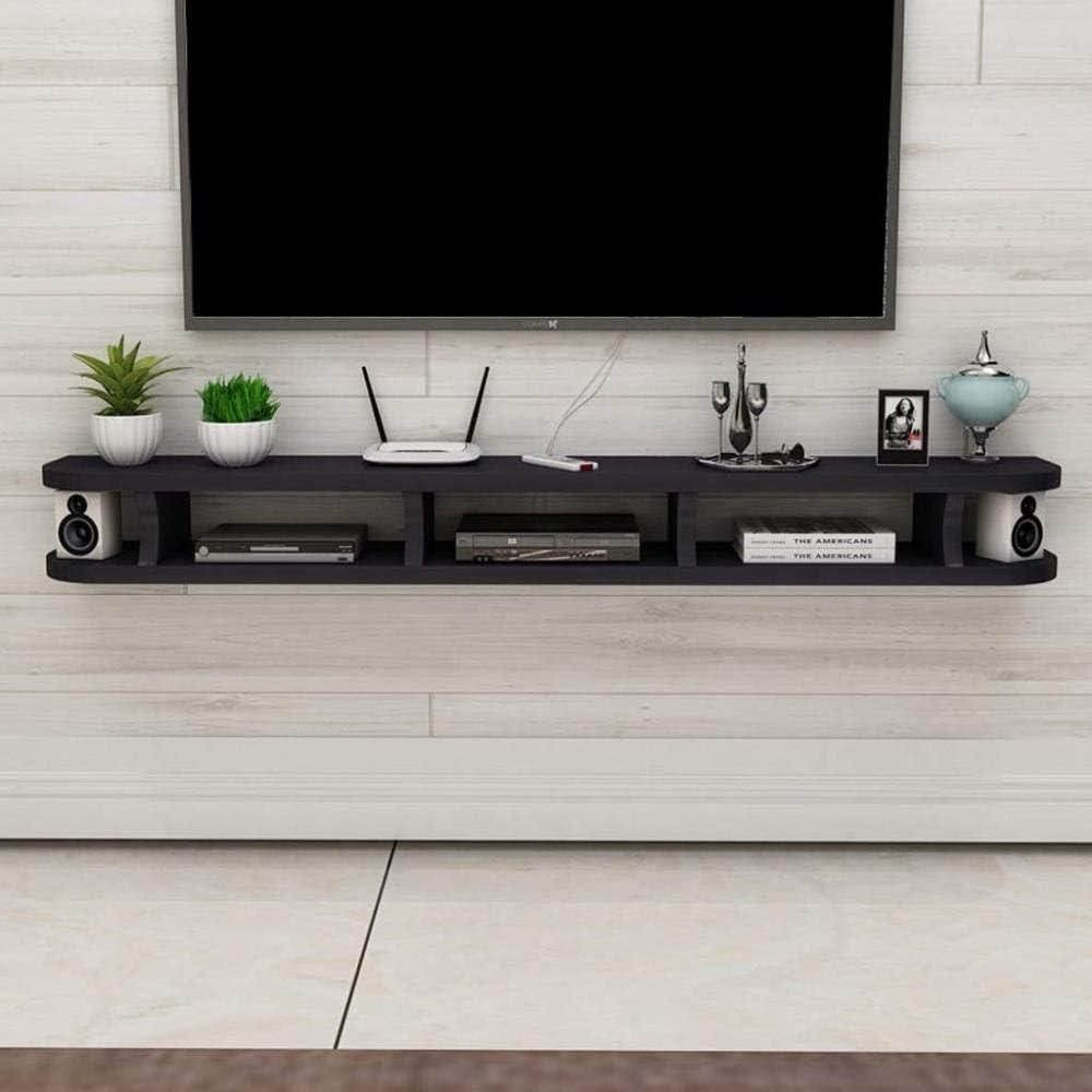 棚, フローティングシェルフ壁掛けテレビキャビネットWiFiルーターセットトップボックスDVDプレーヤー小型スピーカープロジェクターシェルフウォールシェルフテレビスタンドテレビボード、ブラック120CM、カラー名:ウッドカラー80 Cm (Color : Black 120cm, Size : Reddish Brown 80 Cm)