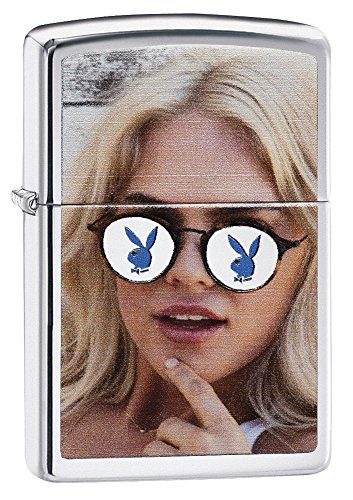 Zippo Playboy Sunglasses Pocket Lighter, High Polish Chrome