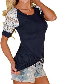 CIELLTE Femme T-Shirt Manches Courtes Élégant Shirts Dentelle Tee Shirt Hauts Tops Pull Casual