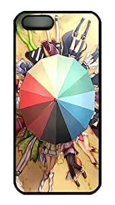 Rugged iPhone 5S Case,Beach Umbrellas And Cartoon Girls Polycarbonate PC Plastic Hard Case Cover for Apple iPhone 5S/5 Black