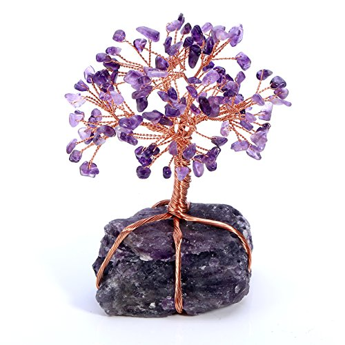 Tree Copper (Top Plaza Chakra Healing Crystals Copper Money Tree Wrapped On Natural Amethyst Base Feng Shui Luck Figurine)