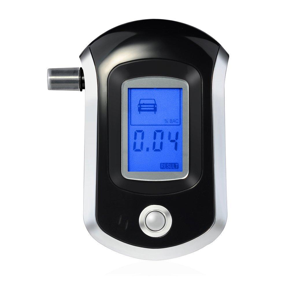 VicTsing - Etilometro digitale professionale, mod. GECA002BB, con 20 ugelli usa e getta, con nano sensore/LCD, portatile ed esatto Nero1 con 20ugelli usa e getta PCA002B-VES