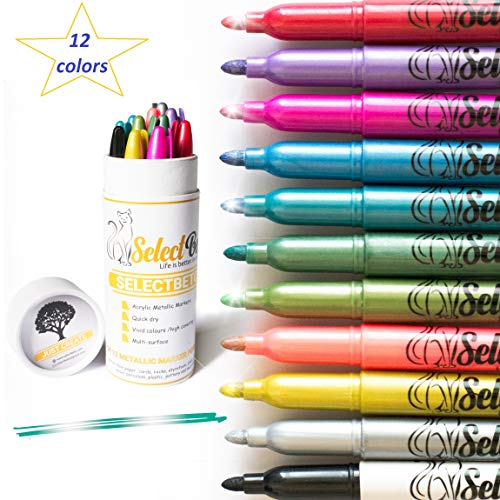 Metallic Marker Pens for Rock Painting-Decorations- Card Making- Coloring-Scrapbooking- Doodling- Photo-Crafts,Metal,Wood- Glitter Set of 12 Medium tip Point Pen ()