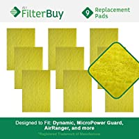 FilterBuy Replacement Media Pad Filter (16x25). Compatible with Dynamic, MicroPower Guard, Air Ranger, and more. (Pack of 9)