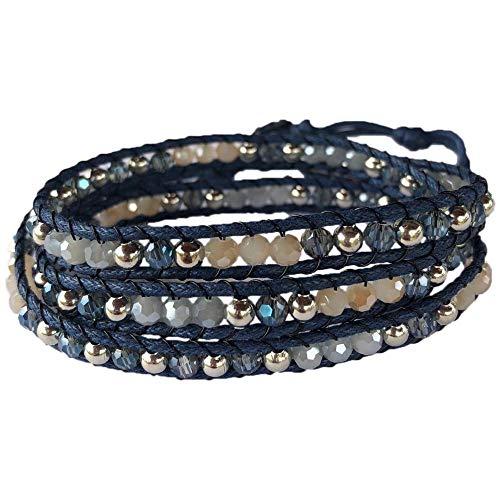 SoulTika Handmade Crystal Beaded 3 Wrap Bracelet Bangle Cuff Adjustable Gift Ideas for Women Teenager Girl Bohemian (Navy)
