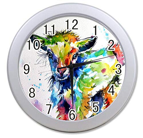 COL DOM Wall Clock Colorful Baby Goat Painting Custom Sliver Elegant Wall Clock Photo Printed 9.65