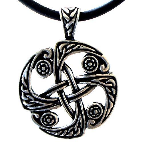 OhDeal4U Celtic Viking Unity Symbol Pewter Pendant Charm Amulet w Necklace (Black PVC Cord)