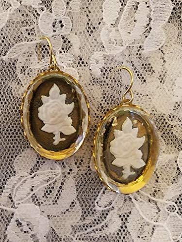 Vintage Glass Intaglio Rose Earrings