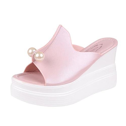 IGEMY Frauen Hausschuhe Dick-Bottom Volltonfarbe Pearl Decor Wasserdicht Keil Sandalen Schuhe