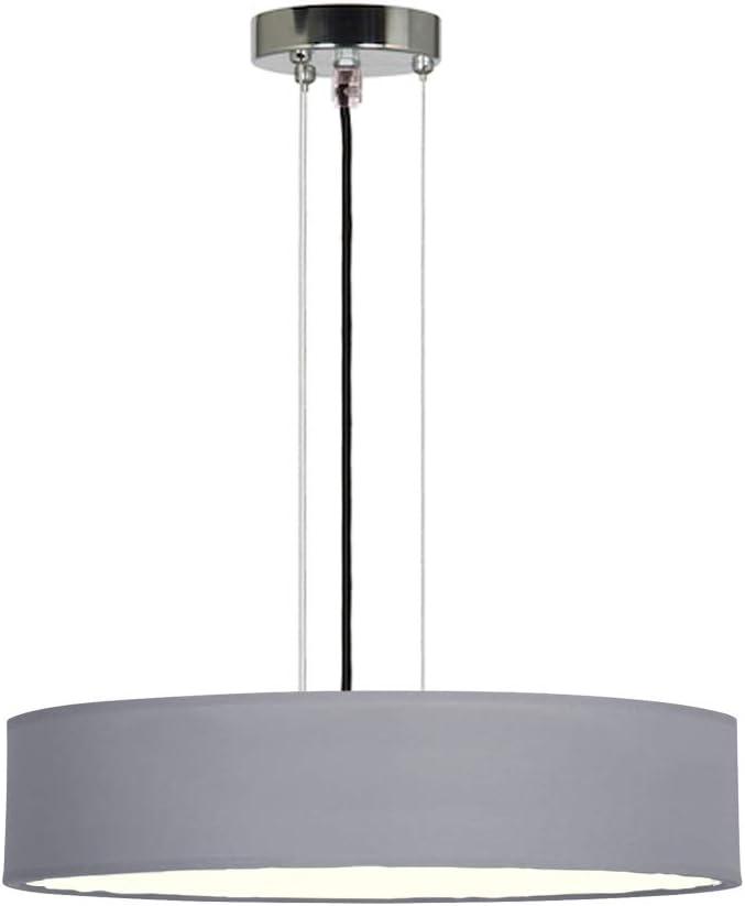 Lámpara colgante redonda atemporal con pantalla de tela en color gris, 50 cm de diámetro, cubierta satinada para iluminación antideslumbrante.: Amazon.es: Iluminación