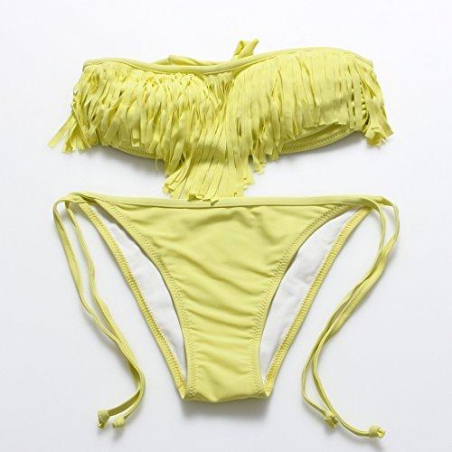 YONGYI Ultra Pure dividir colores bikini stream 3 1 Su esquina del campo spa girl trajes de baño Amarillo