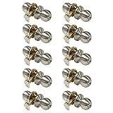 Interior Bedroom/Bathroom Entrance Doorknobs Entry Keyed Door Lock Lockset in Satin Nickel 3 Free keys,10 pack