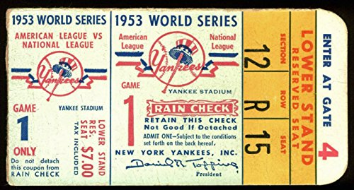BKN Dodgers Versus NY Yankees 1953 World Series Game 1 Ticket Unsigned (1) ()