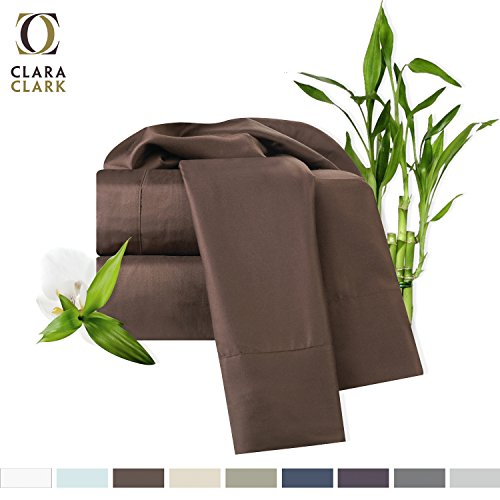 Bedroom Bedroom Set Bamboo (Bamboo Bed Sheet Set, Brown (Chocolate) Queen Size, By Clara Clark, 100% Rayon Made From Bamboo Sheets, Luxury Super Silky Soft With Extra Thick Corner Elastic Straps On Fitted Sheet, Machine Washable)
