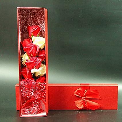 JIALE3536 Flor de jabón rosa Rosas de caja de regaloRegalos de cumpleaños, día de San