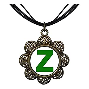 Chicforest Bronze Retro Style Green Letter Z Sun Flower Pendant