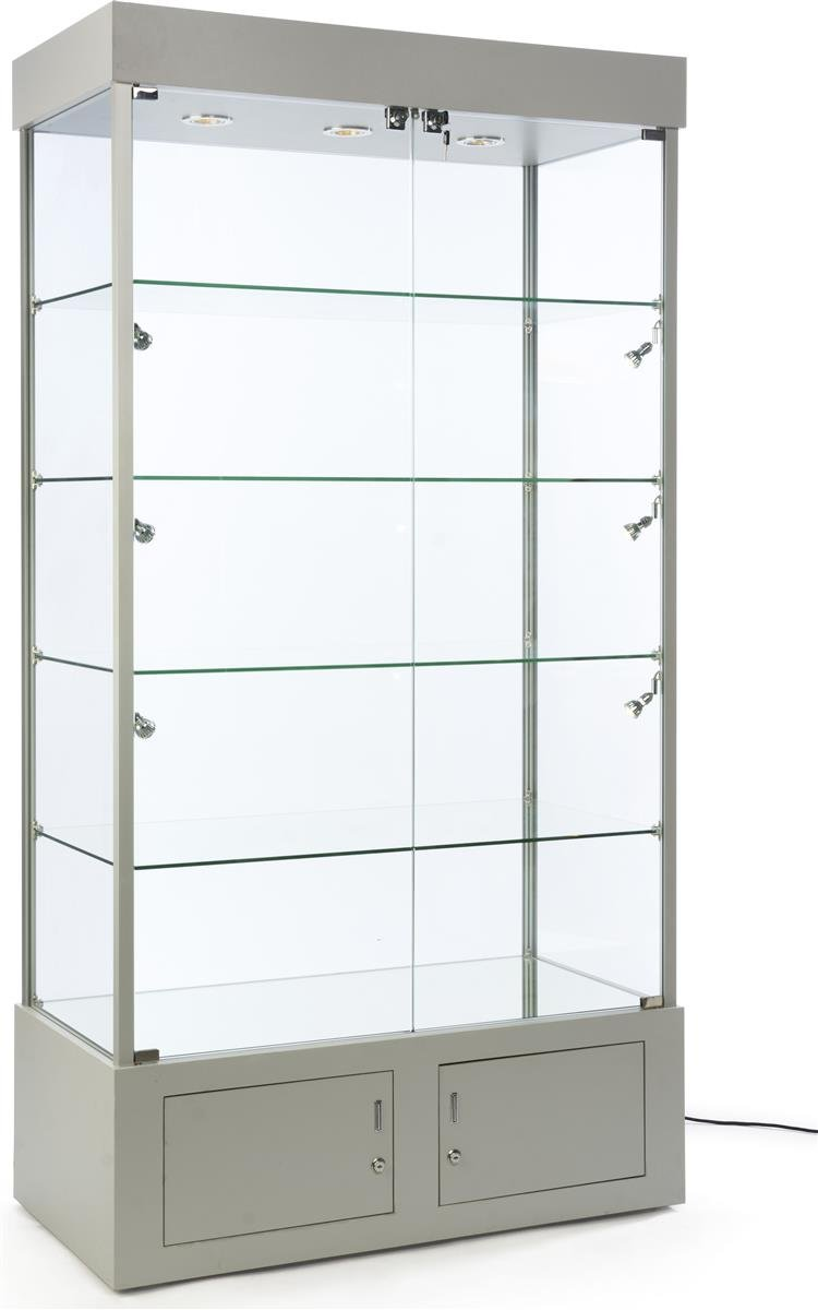 Displays2go, Tall Glass Showcase, Aluminum, Tempered Glass, Melamine – Silver, Clear (SMPLTW02SV)