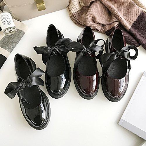 3f796cc1fe808 Angrousobiu luz de la primavera pajarita zapatos de mujer pequeña correa a  la cabeza redonda solo