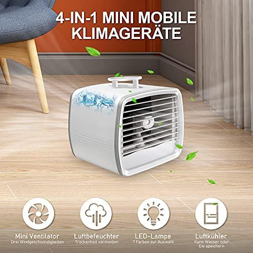 Air Cooler 4 In 1, Mini Klimagerät Mobil Leise 3 Geschwindigkeitsventilatoren, Luftbefeuchter, LED 7 Farben, Luftbefeuchter, Luftkühler können Wasser, Eis setzen, Klimagerät Mobil Wassertank USB