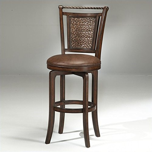 Hillsdale Norwood 26.5 in. Hammered Copper Back Swivel Counter Stool - Norwood Brown Cherry