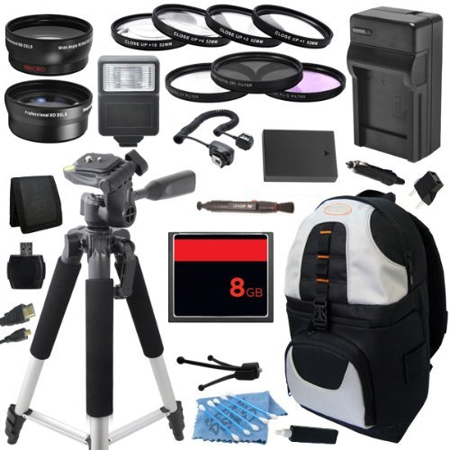 Outdoor Travel Ultimate Accessory Package includes High Capacity BLS-1 BLS1 Replacement Battery with Car/International Charger + 8GB Memory Card + Deluxe DSLR Digital Camera Backpack + 58mm 0.43x High Definition AF Wide Angle Lens + 2.2x AF Telephoto Lens by ECD