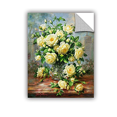 Albert Williams's Princess Diana Roses in a Cut Glass Vase, Art Appeelz Removable Wall Art Graphic, 36 X 48