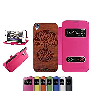 CASELABDESIGNS CON DEFECTOS HOLZ FUNDA NEGRA PARA HTC DESIRE 820 FUCSIA-FUNDA PLEGABLE DE COLOR ROSA