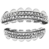 Hip Hop Platinum Silver Plated Removeable Mouth Grillz Set Rows of Bling
