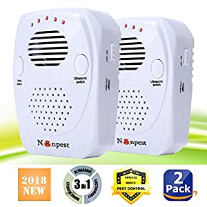 [2018 UPGRADED] Ultrasonic Pest Repeller- Electronic Pest Control Plug In -Mosquito Repellent&Mouse Repellent-Repels Mice, Bed Bugs, Spiders, Insect, Roaches, Ants, Fleas, Human & Pet Friendly(2Packs)