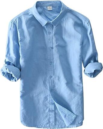 Camisa Lino Hombre De Manga Larga Tallas Grandes Slim Fit Casual Lago Azul 3XL: Amazon.es: Ropa y accesorios