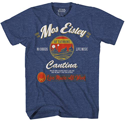 Star Wars Mos Eisley Cantina Tatooine Men's Adult Graphic Tee T-Shirt (Navy Heather, XXX-Large)