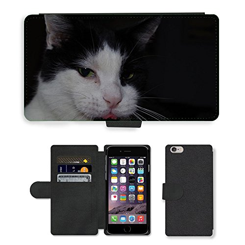 "Just Phone Cases PU Leather Flip Custodia Protettiva Case Cover per // M00128189 Langue de chat félin joli contenu // Apple iPhone 6 PLUS 5.5"""