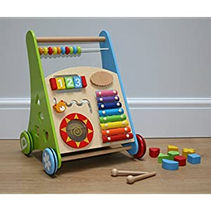 Molly and Friends Wooden Baby Walker with Activity Center and Bricks