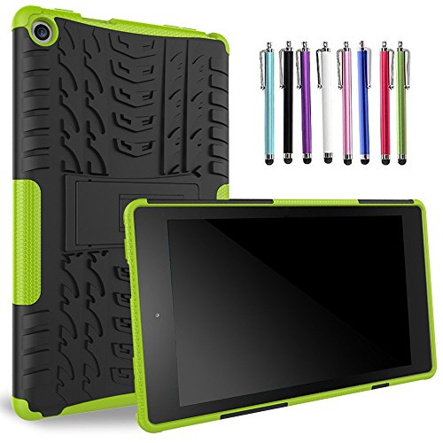 """Photo - 2016 Amazon Fire HD 8"""" Case, Asstar Heavy Duty Dual Layers Rugged Hard Back Shell With Kickstand Durable Anti-Slip Case For (6th Generation) Fire HD 8, 8"""" HD Display + 1 Random Color Stylus (Green)"""