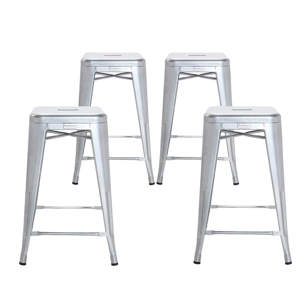 Buschman Set of 4 Gray 26 Inch Counter Height Metal Bar Stools, Indoor/Outdoor, Stackable by Buschman Store