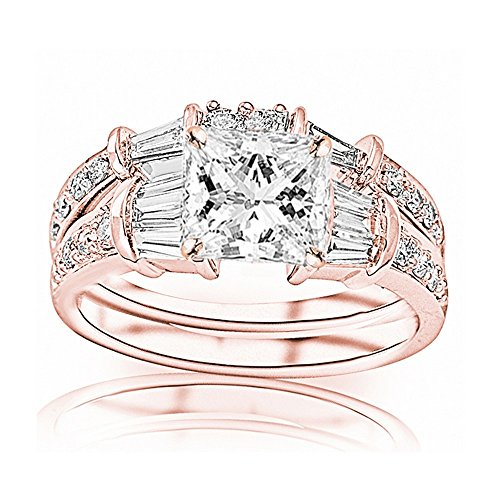 Band Diamond Brilliant Baguette Round (1.5 Carat 14K Rose Gold Baguette Round Princess Cut Diamond Engagement Ring Wedding Bridal Band Set (0.75 Ct H Color VS2 Clarity Center Stone))