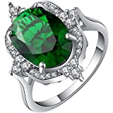 18KT White Gold Filled Gemstone Wedding Band Engagement Ring Jewelry Size 7-9 ERAWAN (9 #, Green)