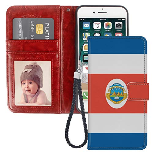 Costa Rica Flag iPhone 6S Plus Wallet Case PU Leather Black TPU Phone Case with Credit ID Card Slots Gift Wrist Strap Purse Case for iPhone 6 -