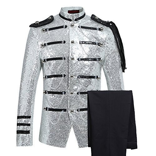 Party Prom Jacket - Mens 2-Piece Suit Fashion Sequin Party Prom Dinner Blazer Tuxedo Jacket Trousers,White,Medium